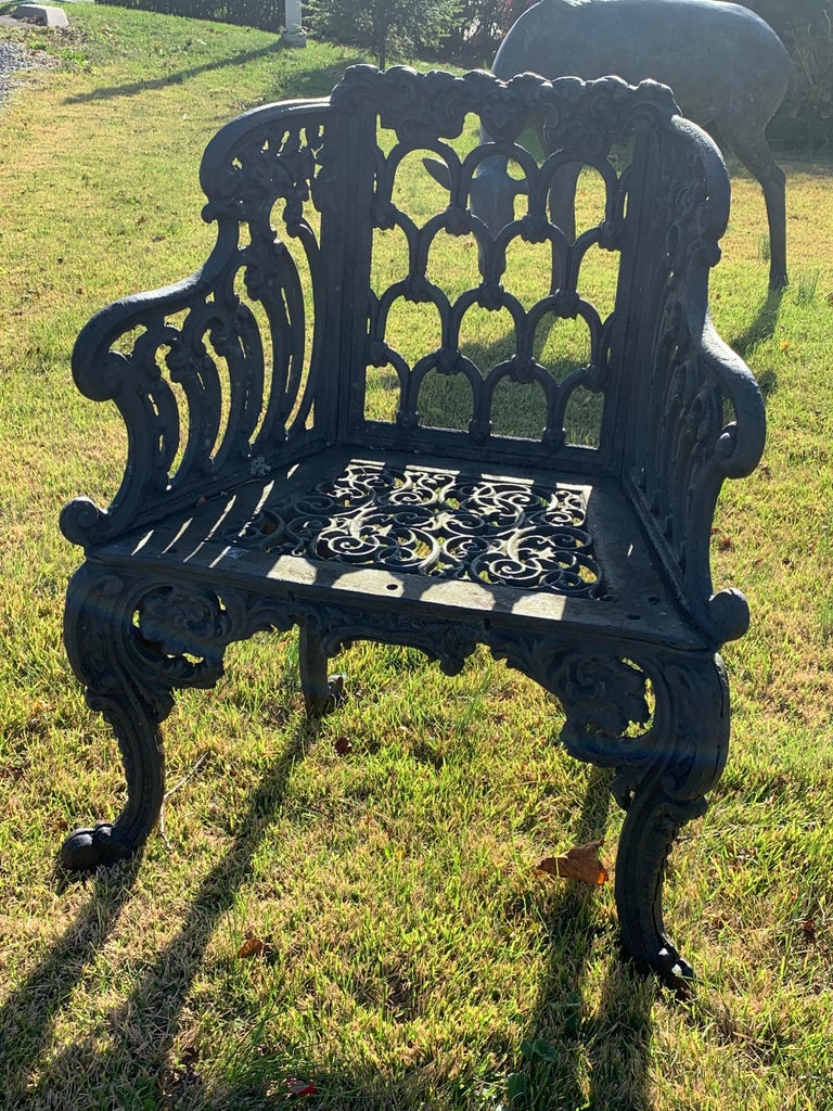 Cast Iron Garden Bench and Chair Set, circa 1880 For Sale 1