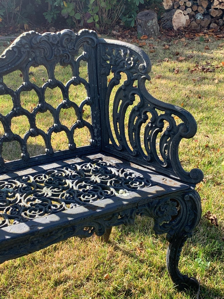 Cast Iron Garden Bench and Chair Set, circa 1880 For Sale 2