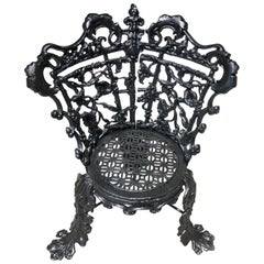 Cast Iron Garden Chair in the Morning Glory Pattern