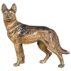 Cast Iron German Shepard Doorstop by Hubley, circa 1910-1940