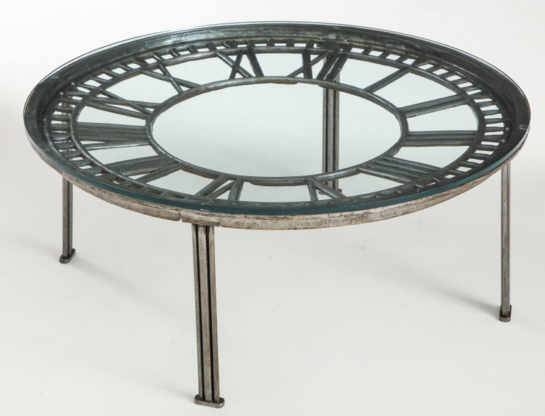 Cast Iron Glass Coffee Table with Clock Face 5