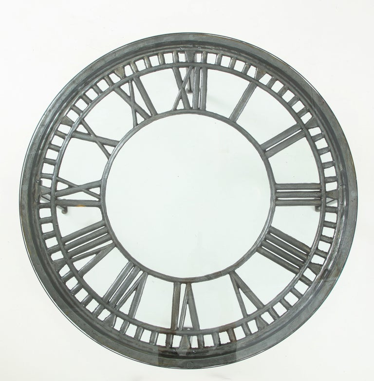 Cast Iron Glass Coffee Table with Clock Face 6