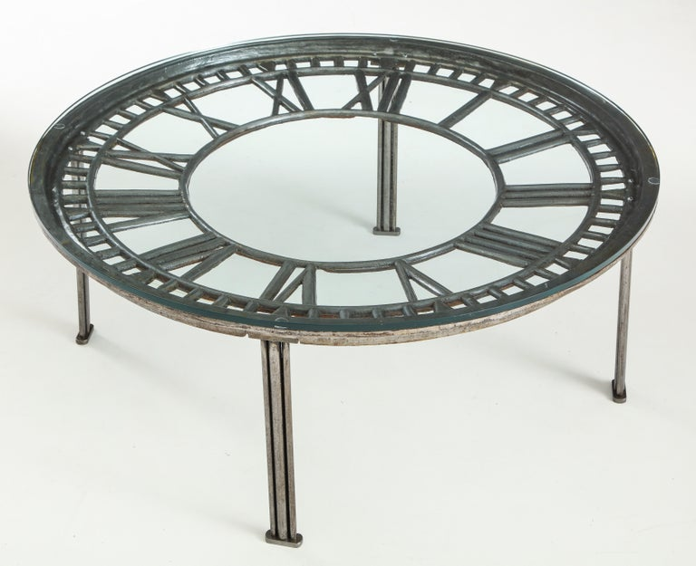 Cast Iron Glass Coffee Table with Clock Face In Good Condition In Mt. Kisco, NY
