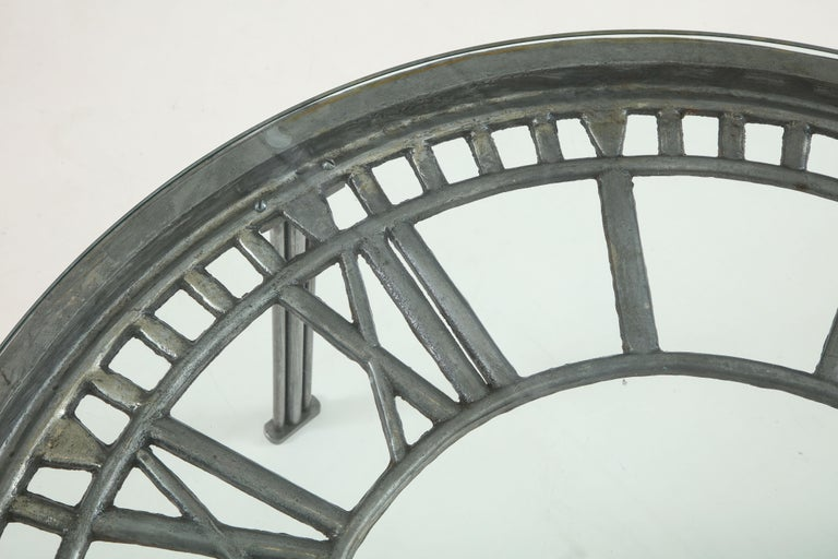 Cast Iron Glass Coffee Table with Clock Face 1