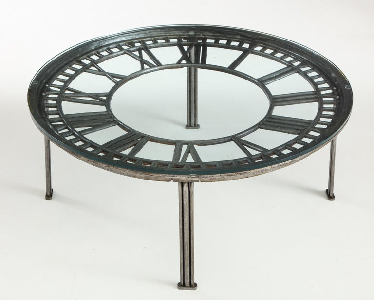 Cast Iron Glass Coffee Table with Clock Face 2