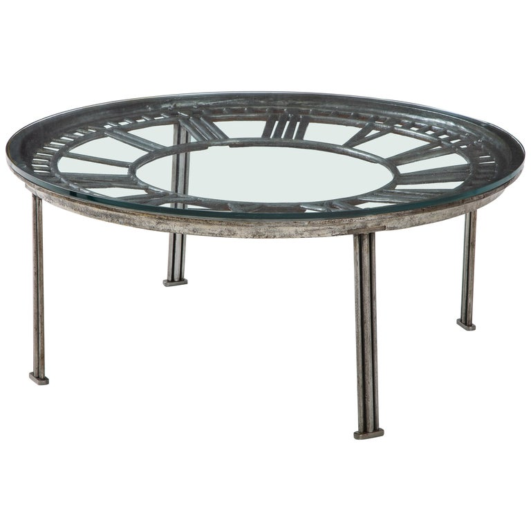 Cast Iron Glass Coffee Table with Clock Face