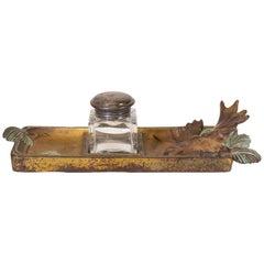 Circa 1900 Cast Iron Gold Gilding Moose Desk Set