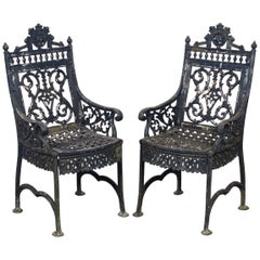 Cast Iron Gothic Revival Garden Armchairs after Peter Timmes