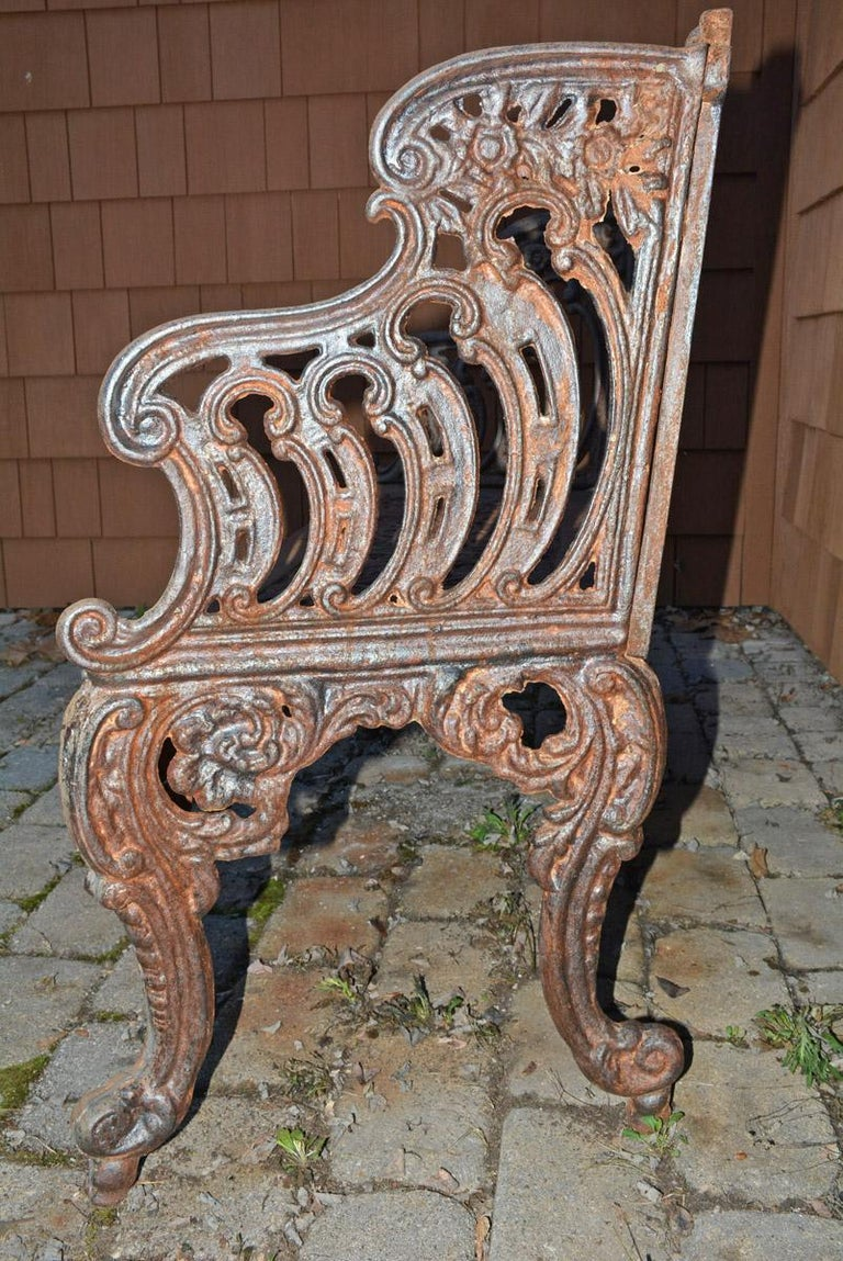 Cast Iron Gothic Style Garden Bench For Sale 4
