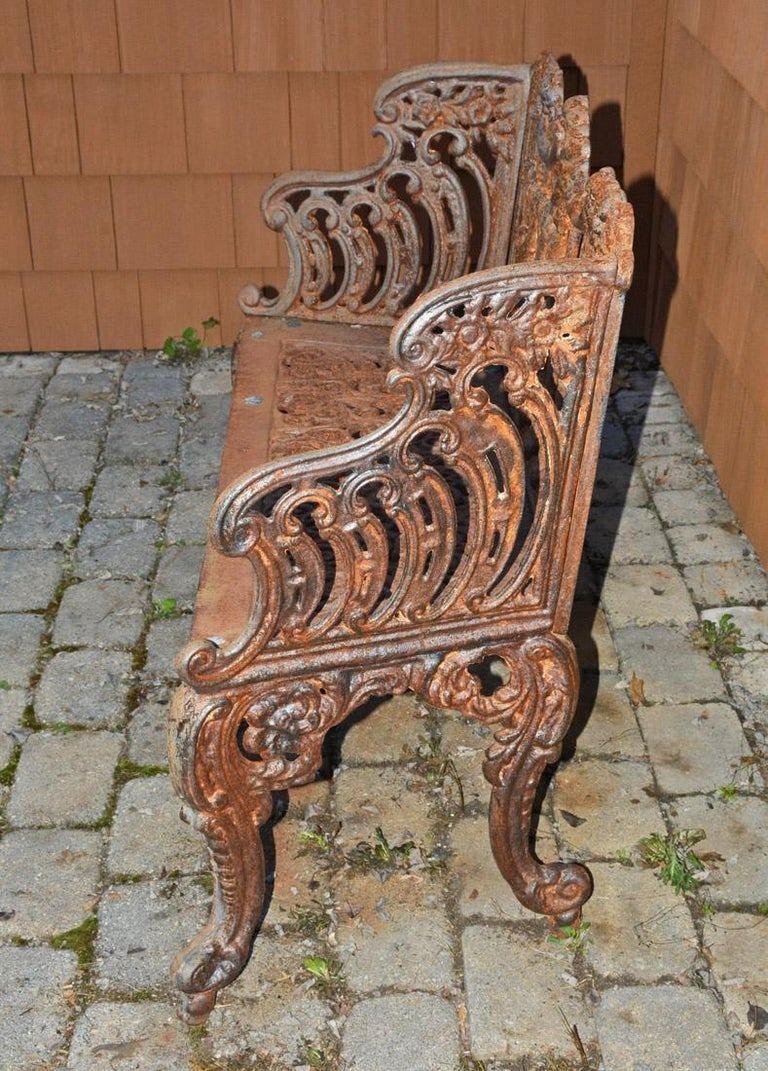 Early Victorian Cast Iron Gothic Style Garden Bench For Sale