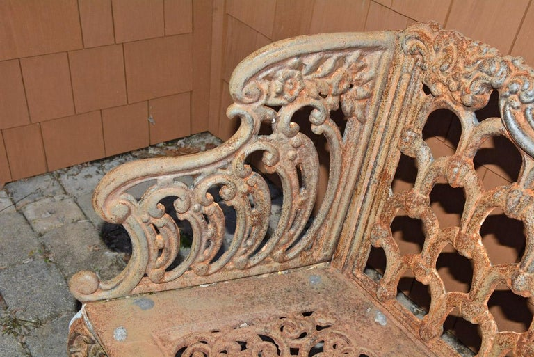 20th Century Cast Iron Gothic Style Garden Bench For Sale
