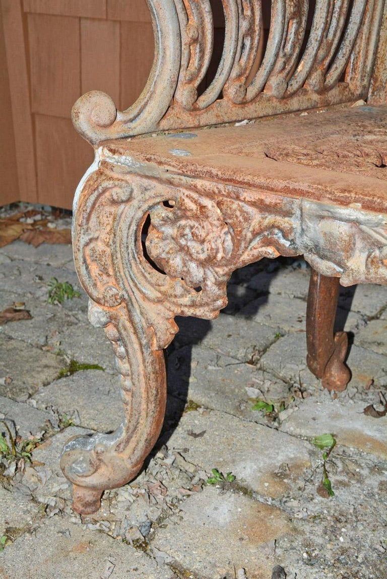 Cast Iron Gothic Style Garden Bench For Sale 1