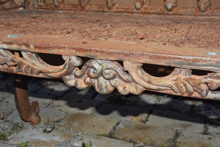 Cast Iron Gothic Style Garden Bench For Sale 2