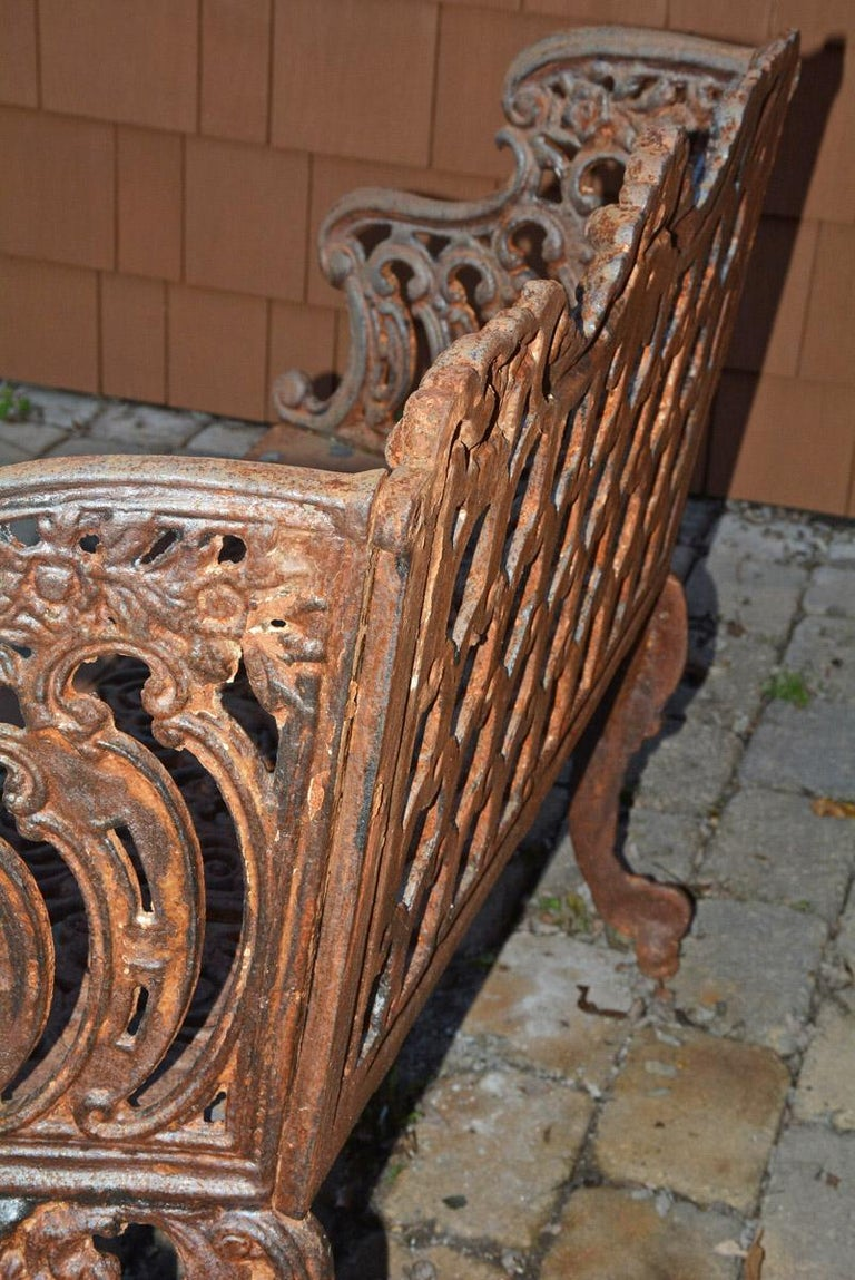 Cast Iron Gothic Style Garden Bench For Sale 3