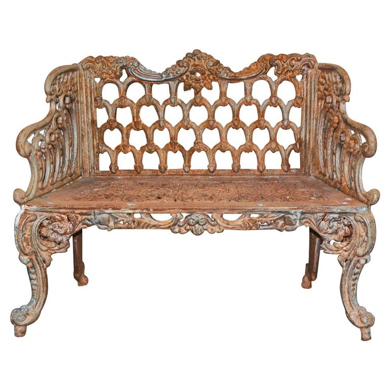 Cast Iron Gothic Style Garden Bench For Sale