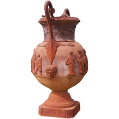 Cast Iron Grecian Urn in the Classical Style, after the Antique