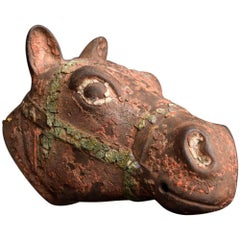 Cast Iron Horses Head Fragment with a Wonderful Aged Surface, circa 1900