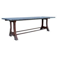 Cast Iron Industrial French Table with Belgian Bluestone Top, 19th Century