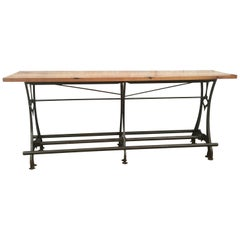 Cast Iron Industrial-Style Table with Oak Top