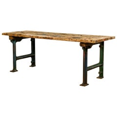 Cast Iron Industrial Table with Pine Top, 20th Century