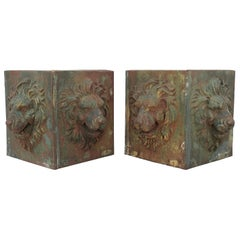 Cast Iron Lions Head Planters Midcentury, Pair