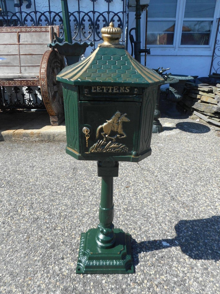 An Amazing Cast Iron Mailbox With A Decorative Front And Locking Door Beautiful Piece