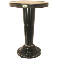 Cast Iron Metal Enamel Side Table with Stylized Design