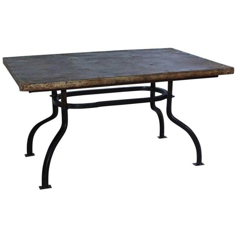 Cast Iron Metal Top Indoor or Outdoor Garden Coffee Table For Sale