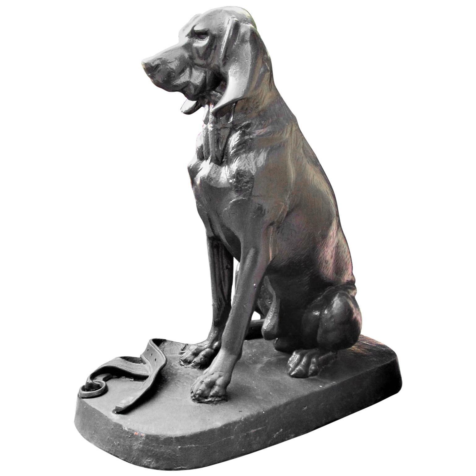 Cast Iron Model of a Hunting Dog Hound Garden Statue Antiques LA CA Center Piece