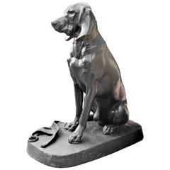 Cast Iron Model of a Hunting Dog Hound Garden Statue Antiques LA CA Center Piece