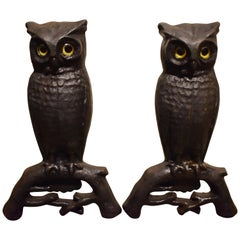 Cast Iron Owl Andirons with Glass Eyes, circa 1890, New Hampshire