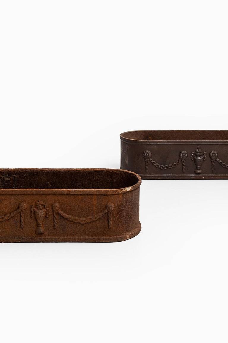 Scandinavian Modern Cast Iron Planters from the 1930s, Produced in Sweden For Sale