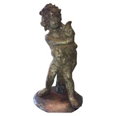 Cast Iron Putti with Dolphin Fountain Sculpture