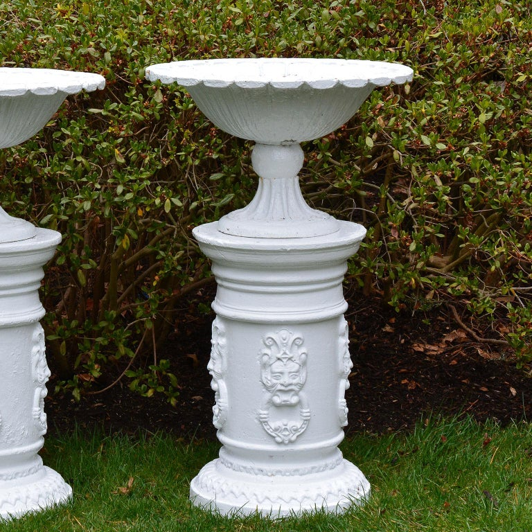 Neoclassical White Painted Cast-Iron Urns on White Pedestals For Sale