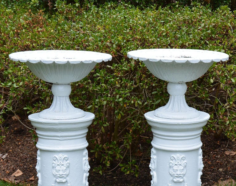 English White Painted Cast-Iron Urns on White Pedestals For Sale