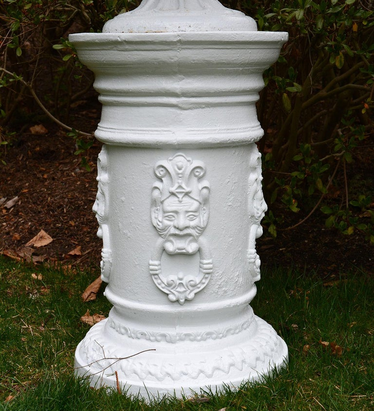 White Painted Cast-Iron Urns on White Pedestals In Good Condition For Sale In Katonah, NY