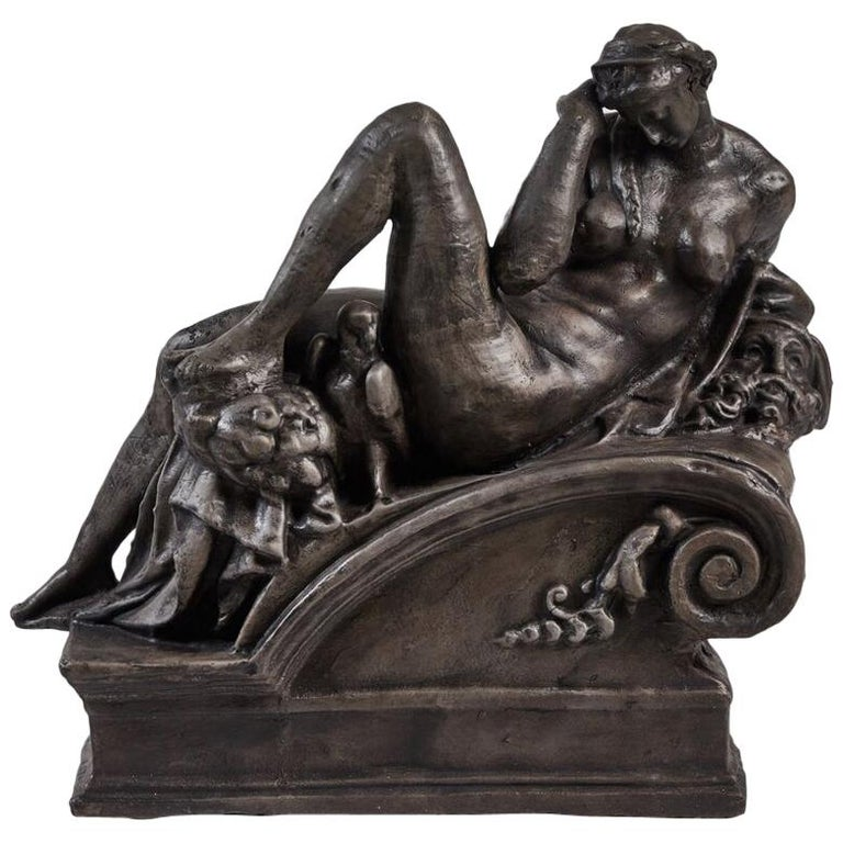 """Cast Iron Statue of """"Night"""", as depicted in Michael Angelo's  Allegorical Night For Sale"""
