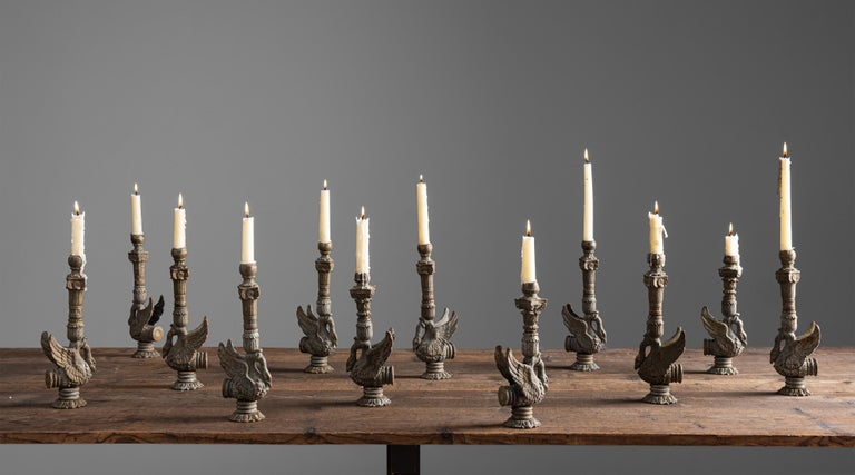 Cast Iron Swan Candle Holders, France, circa 1830 In Good Condition For Sale In Culver City, CA