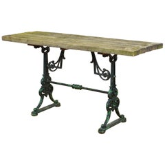 Cast Iron Table Base with Thick Wood Top, 20th Century