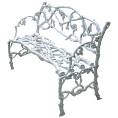 White Painted Cast-Iron Twig Bench