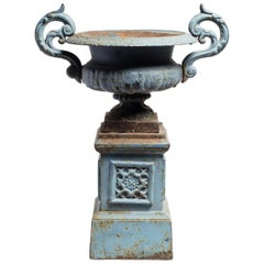19th Century French Pedestal Urn Planter with Blue Enamel Finish