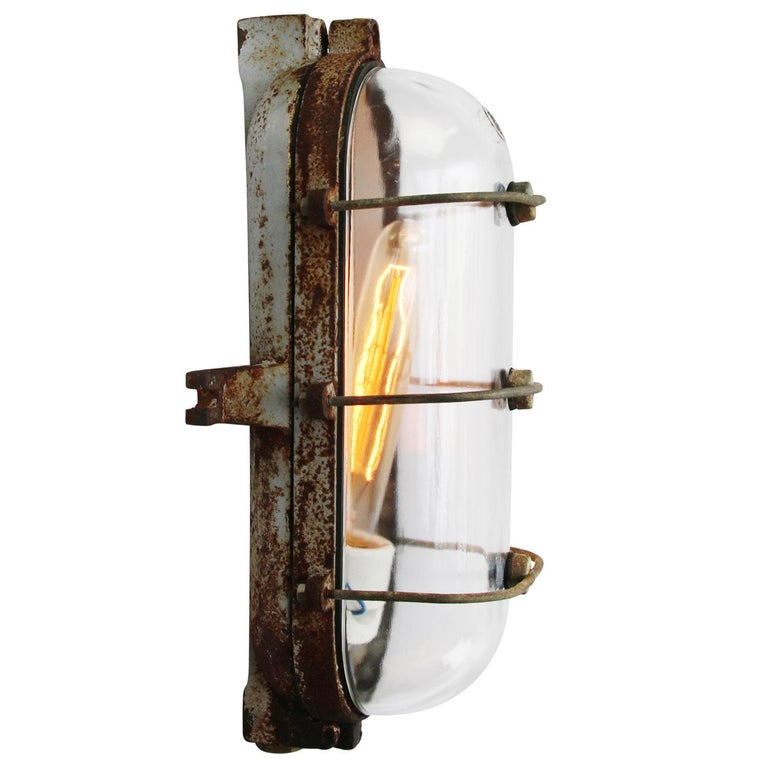 Industrial wall ceiling scone cast iron clear glass  Weight: 2.78 kg / 6.1 lb  Priced per individual item. All lamps have been made suitable by international standards for incandescent light bulbs, energy-efficient and LED bulbs. E26/E27 bulb