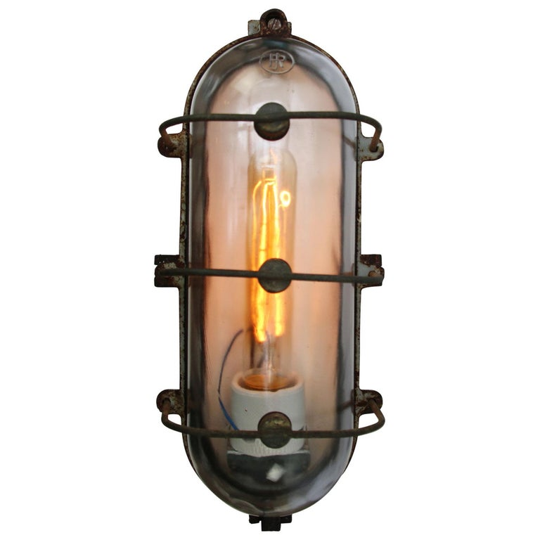 Dutch Cast Iron Vintage Industrial Clear Glass Wall Lamp Scone For Sale
