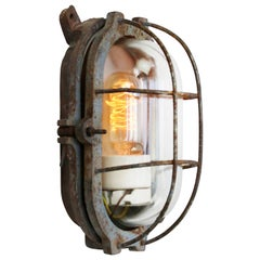 Cast Iron Vintage Industrial Clear Glass Wall Lamps Scones
