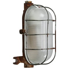 Cast Iron Vintage Industrial frosted Striped Glass Wall Lamps Scones