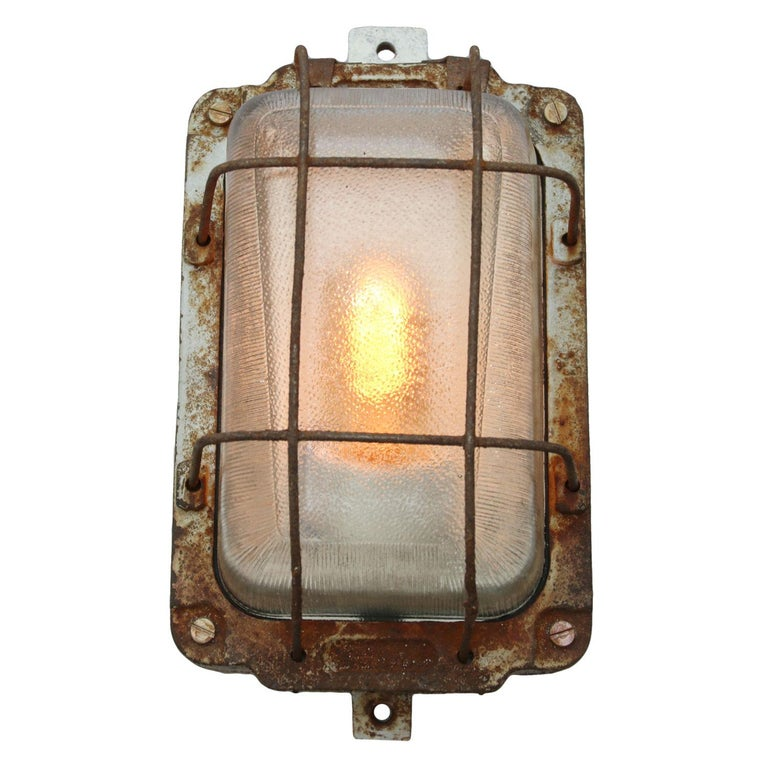 Polish Cast Iron Vintage Industrial Holophane Glass Wall Lamp Scones For Sale