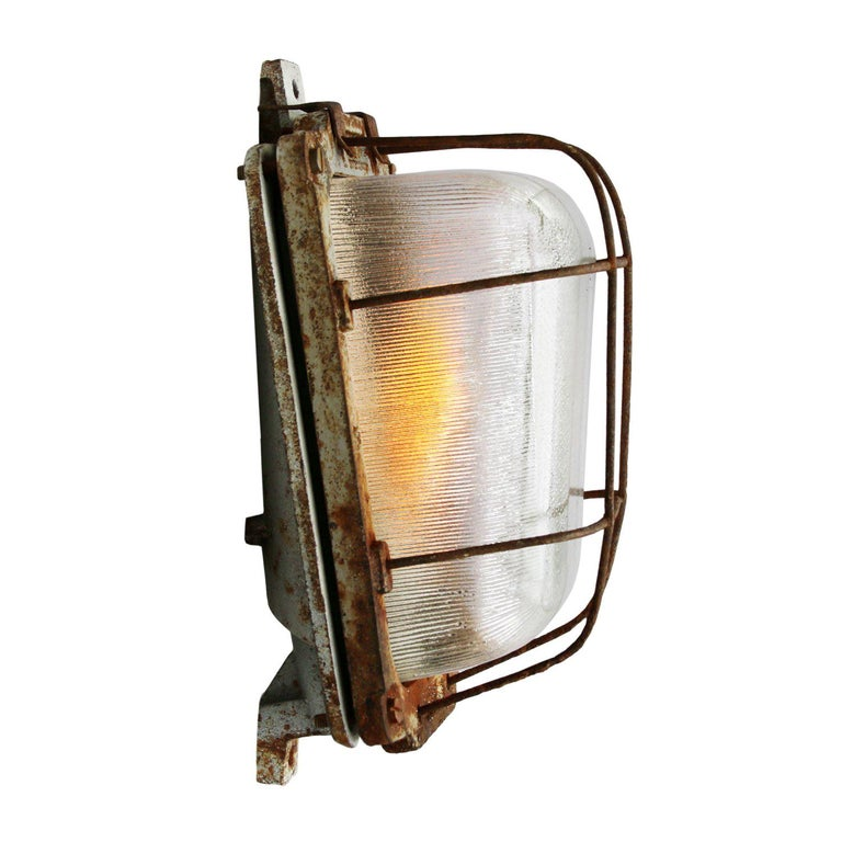Cast Iron Vintage Industrial Holophane Glass Wall Lamp Scones For Sale