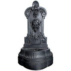 Cast Iron Wall Fountain Signed by Val D´osne, France, Late 19th Century