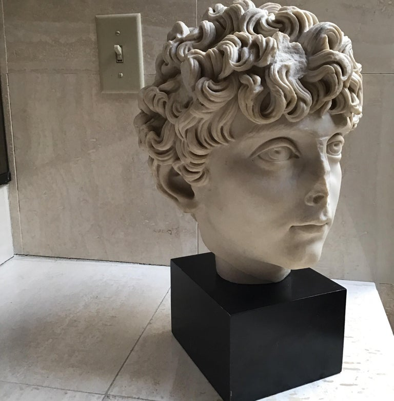 Cast Marble Roman Sculpture In Good Condition For Sale In Douglas Manor, NY