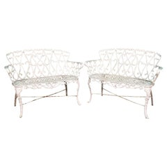 Cast Metal Garden Patio Benches in the Manner of Frances Elkins, Set of 2